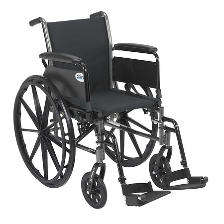 Drive Medical Cruiser III Lightweight Wheelchair w Flip Back Removable Full Arms and Foot Rest 20 Inch Black