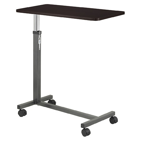 Drive Medical Non Tilt Top Overbed Table Walnut And Silver Vein Steel