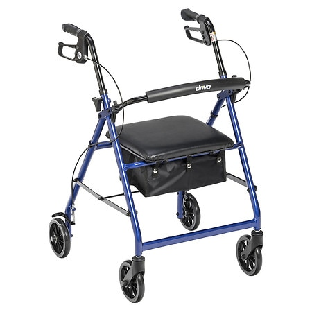 Drive Medical Rollator Walker with Fold Up and Removable Back Support and Padded Seat Blue