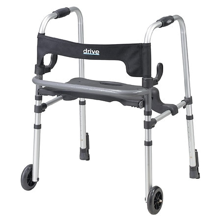 Drive Medical Clever Lite LS Rollator Walker with Seat and Push Down Brakes
