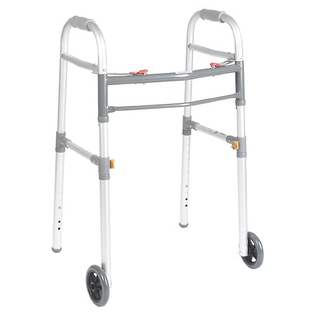 Drive Medical Two Button Folding Universal Walker 5 Inch Wheels Silver