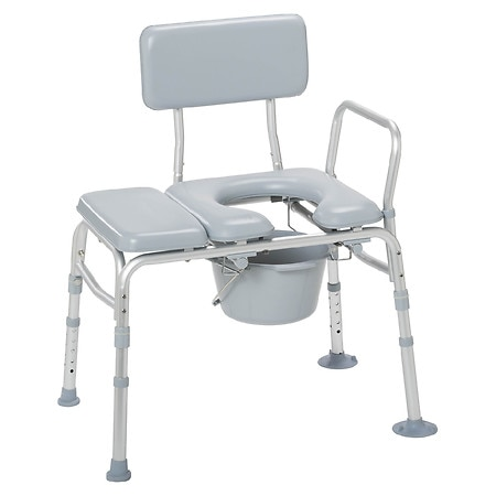Drive Medical Padded Seat Transfer Bench with Commode Opening