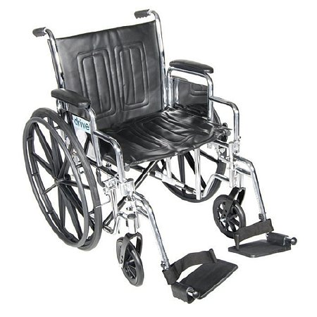 Drive Medical Chrome Sport Wheelchair with Detachable Full Arms and Swing Away Footrest 18 inch Black