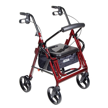 Drive Medical Duet Transport Wheelchair Rollator Walker Burgundy