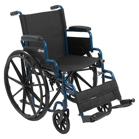 Drive Medical Wheelchair with Flip Back Desk Arms and Swing Away Footrest 18 Inch Blue Streak