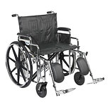 Drive Medical Sentra Extra Heavy Duty Wheelchair w Detachable Desk Arms and Elevating Leg Rest 24 Inch Seat Black