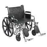 Drive Medical Sentra EC Heavy Duty Wheelchair with Detachable Desk Arms and Elevating Leg Rest 24 Inch Seat Black