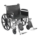 Drive Medical Sentra EC Heavy Duty Wheelchair with Detachable Full Arms and Elevating Leg Rest 24 inch Black