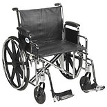 Drive Medical Sentra EC Heavy Duty Wheelchair with Detachable Desk Arms and SwingAway Footrest 24 inch Black
