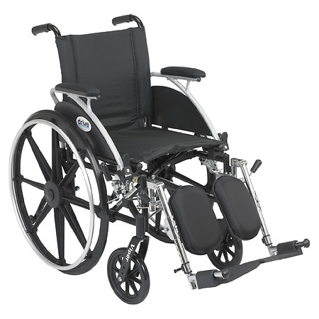Drive Medical Viper Wheelchair with Flip Back Removable Desk Arms and Elevating Leg Rest 14 Inch