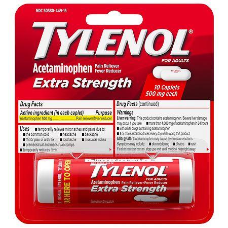 TYLENOL Extra Strength Pain Reliever & Fever Reducer 500 mg Caplets - 100 ea