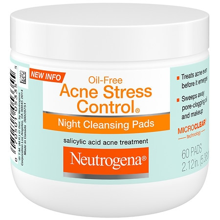 Neutrogena Oil-Free Acne Stress Control Night Cleaning Pads - 60 ea