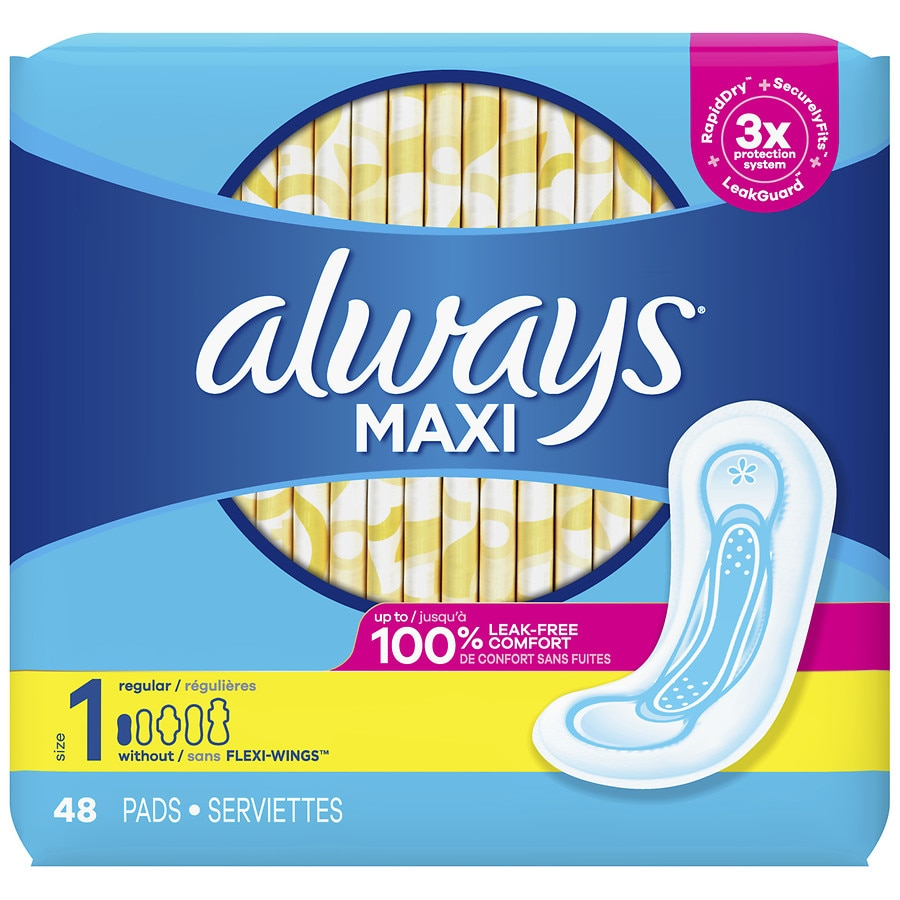Always Maxi Regular Pads Without Wings Unscented Unscented, Size 1