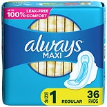 Always Maxi Regular Pads With Wings Unscented Unscented, Size 1