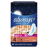 Always Ultra Thin Pads with Wings Unscented, Overnight