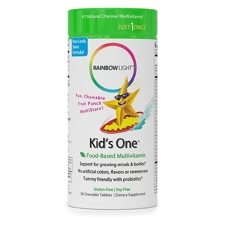 Rainbow Light Kids One MultiStars MultivitaminMineral Chewable Tablets Fruit Punch - 30 ea