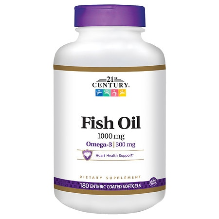 Image of 21st Century Enteric Coated Fish Oil 1000mg, Reflux Free - 180 Softgels