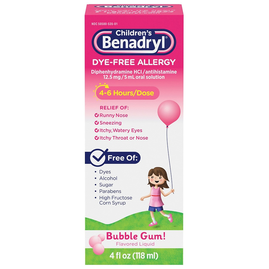 Children's Benadryl Children's Dye-Free Allergy Liquid, Bubble Gum Bubble  Gum-Flavored