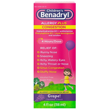 Children's Benadryl D Allergy Plus Congestion Liquid Grape - 4 fl oz