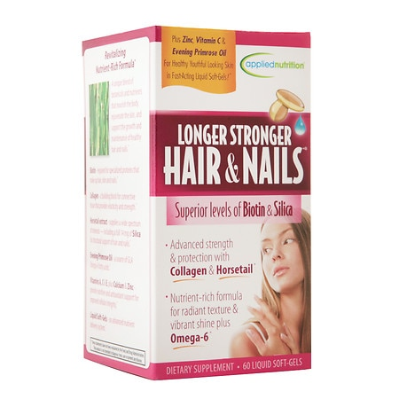 Applied Nutrition Longer Stronger Hair & Nails Dietary Supplement Soft-Gels