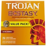 Trojan Ultra Ribbed Ecstasy UltraSmooth Lubricated Premium Latex Condoms