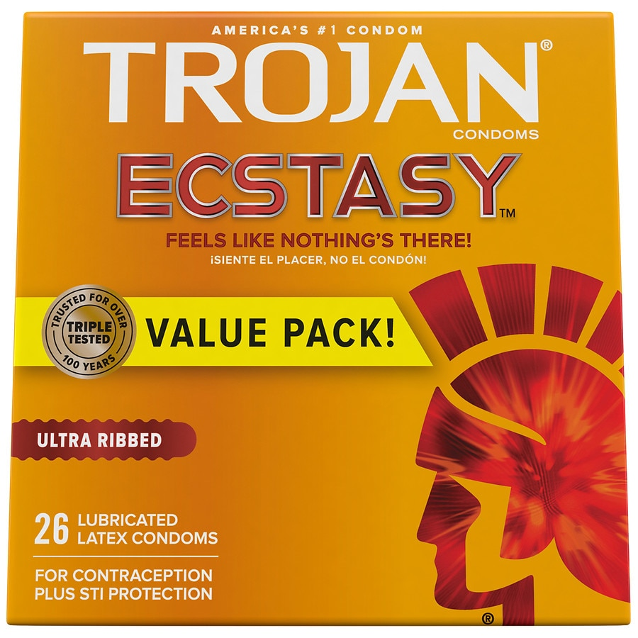 Trojan Ultra Ribbed Ecstasy Ultrasmooth Lubricated Premium Latex