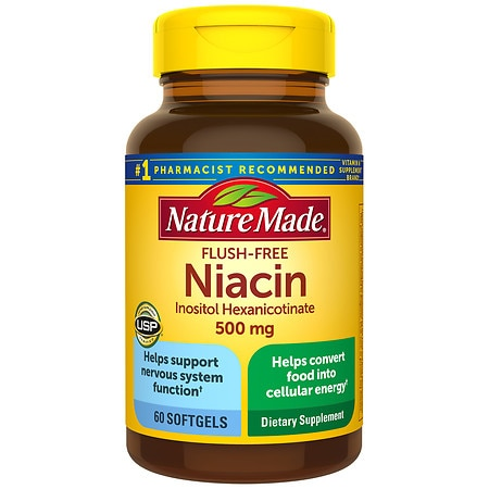 Nature Made Flush-Free Niacin 500 mg Dietary Supplement Liquid Softgels - 60 ea