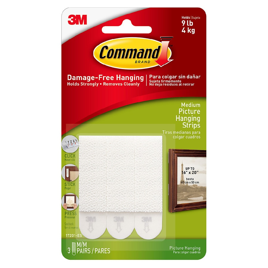 Command Strips Damage Free Hanging Picture Frame Poster Medium White3 0 Set
