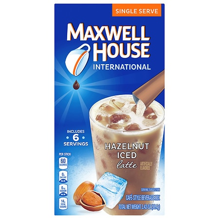 Maxwell House International Cafe Iced Latte Cafe-Style Beverage Mix, Single Serve Packets Hazelnut, 6 pk