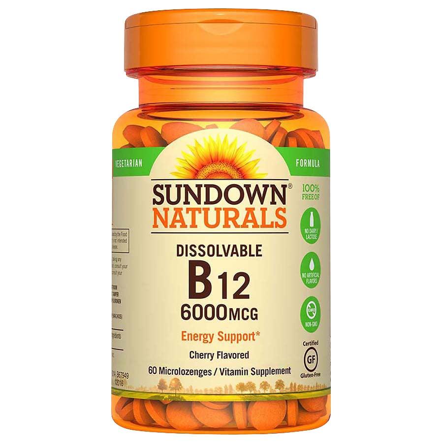 Best B12 Supplement 2020 Sundown Naturals Vitamin B12 6,000 mcg Dietary Supplement Tablets