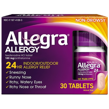 Allegra 24 Hour Allergy Relief 180mg Tablets - 30 ea