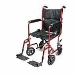 Everest & Jennings Aluminum Transport Chair 19 in Seat Red