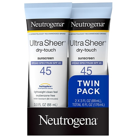 Neutrogena Ultra Sheer Dry-Touch Water Resistant Sunscreen SPF 45 - 3 fl oz x 2 pack