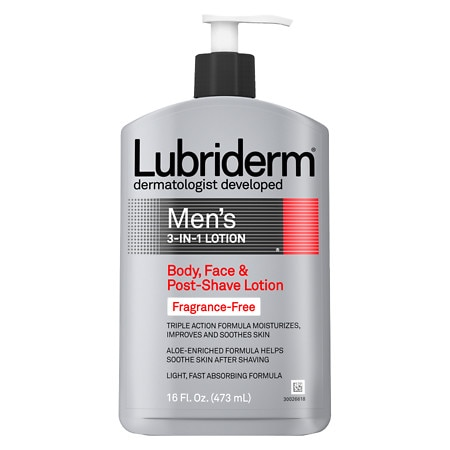 Lubriderm Men's 3-in-1 Body, Face & Post-Shave Lotion Fragrance Free