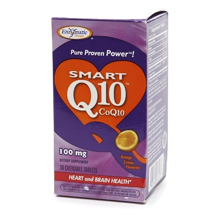 Enzymatic Therapy Smart Q10 CoQ10, 100mg, Chewable Tablets Orange Cream
