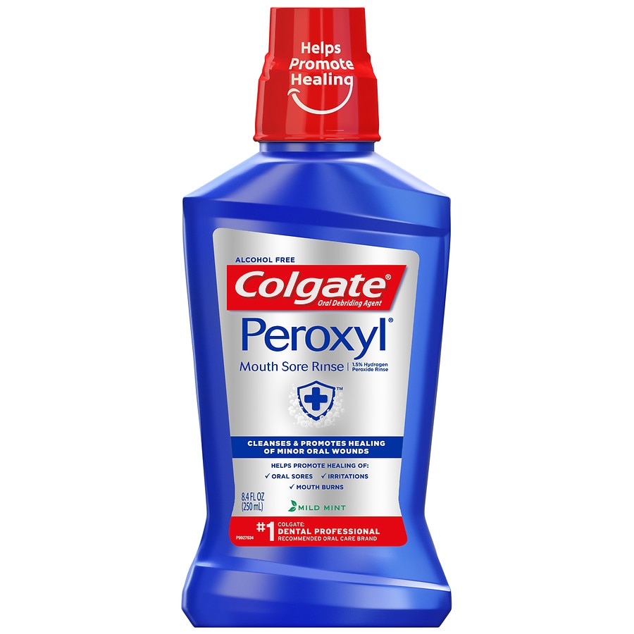 Colgate Peroxyl Mouth Sore Rinse, Antiseptic Oral Cleanser & Rinse Mint