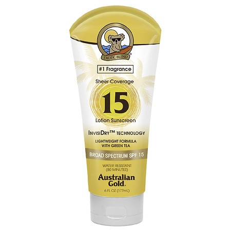 Australian Gold Sheer Coverage Lotion with InvisiDry, SPF 15