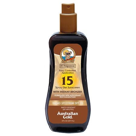 Australian Gold Spray Gel with Instant Bronzer, SPF 15 - 8 fl oz