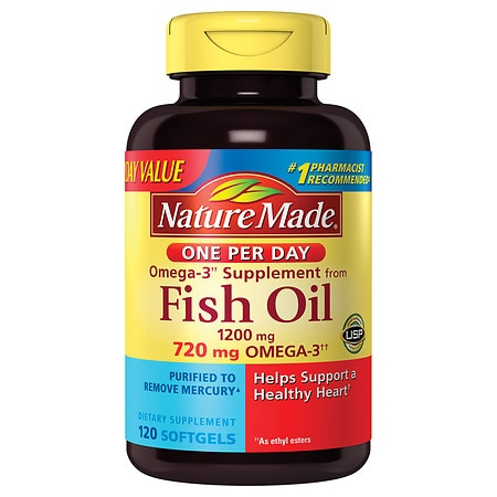 Nature made fish oil one per day 1200 mg dietary for How much fish oil a day