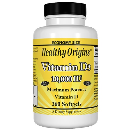 Healthy Origins Vitamin D3, 10000 IU, Softgels