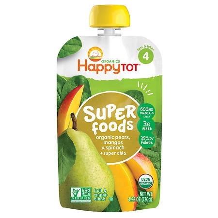 Happy Tots Organic Superfoods Spinach, Mango & Pear