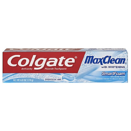 Colgate MaxClean SmartFoam with Whitening Anticavity Fluoride Toothpaste Effervescent Mint - 6 oz.