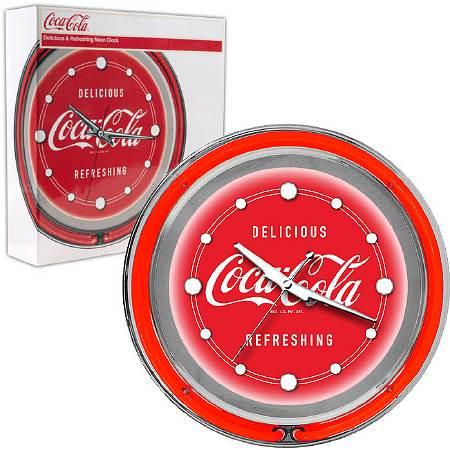Trademark Global Coca Cola Neon Clock - Delicious Refreshing - Two Neon Rings - 1 ea