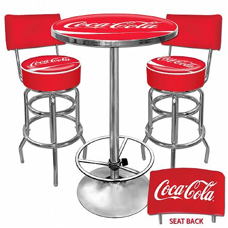 Trademark Global Ultimate Coca-Cola Gameroom Combo - 2 Stools w/Back & Table - 1 ea