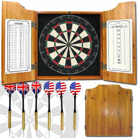 ADG Solid Wood Dart Cabinet with Dartboard and Darts - 1 ea