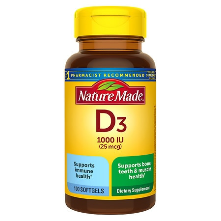 Nature Made D3 1000 I.U. Dietary Supplement Liquid Softgels - 100 ea
