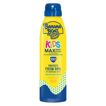 Banana Boat Kids Max Protect & Play Continuous Spray Sunscreen, SPF 100 - 6 fl oz