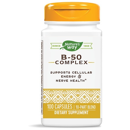Nature's Way Vitamin B-50 Complex Dietary Supplement Capsules