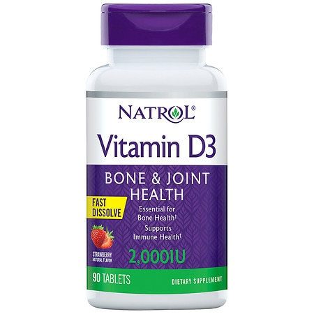 Natrol Vitamin D3 2000 IU Dietary Supplement Mini Tablets Strawberry - 90 ea