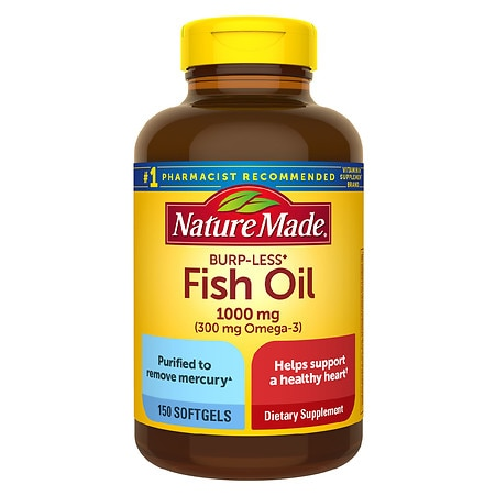 Nature Made Fish Oil 1000 mg Dietary Supplement Liquid Softgels - 150 ea